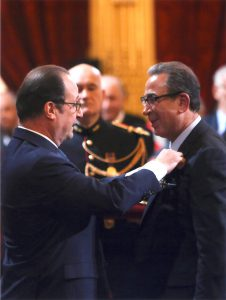 French President Francois Hollande decorating Professor Khalili with the French Republic's highest honour, the rank of officier in the ordre nationale de la legion d'Honneur. Elysée Palace, 11th April 2016.