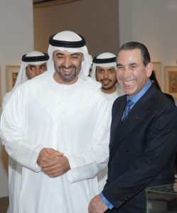 Sir David with His Highness Sheikh Mohammed Bin Zayed Al Nahyan, Crown Prince of Abu Dhabi and Deputy Supreme Commander of the UAE Armed Forces at the opening of the exhibition; 'The Arts Of Islam', Abu Dhabi January 2008