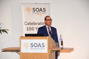Professor David Khalili speaking at SOAS on the preservation of history through art collecting