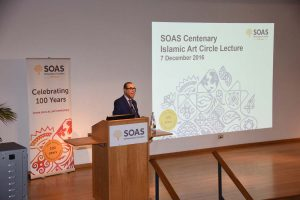 Sir David speaking at SOAS on the preservation of history through art collecting